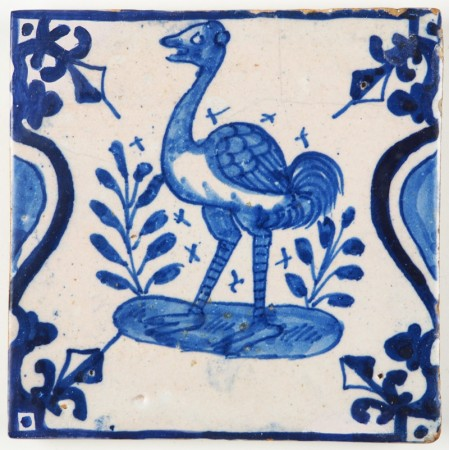 Antique Dutch Delft tile depicting a beautiful ostrich, 17th century
