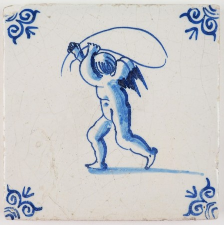 Antique Delft tile in blue with Cupid playing with a jumping rope, 17th century