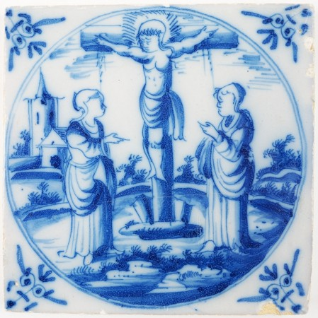 Antique Delft tile with the crucifixion of Jesus Christ, 18th century