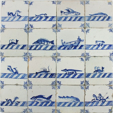 Extraordinary set of 16 antique Dutch Delft wall tiles with sea creatures and a boat, 17th century