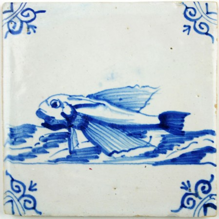 Delft tile with Flying Fish