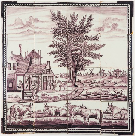 Antique Delft tile mural in manganese with a richly decorated landscape scene, 18th century Rotterdam