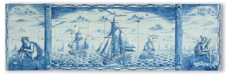 Antique Delft tile mural depicting a sea scenery with Mercurius and Aelous on each side, 18th century Adam Sijbel - Kingma
