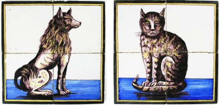 Set of Polychrome Dutch Delft tile mural depicting a Barge dog and a cat