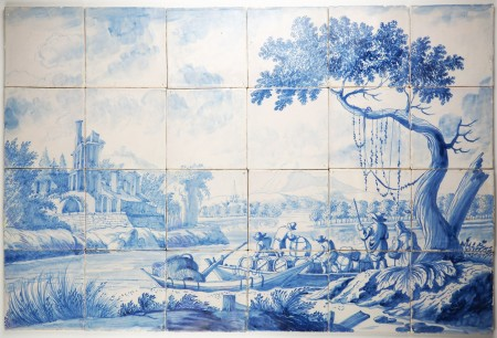 Antique Dutch Delft tile mural with a landscape scene in blue - attributed to Cornelis Bouwmeester, 17th/18th century