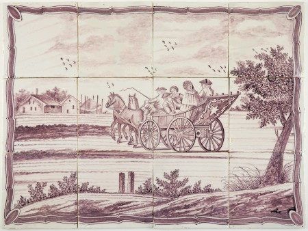 Antique Delft tile mural in manganese with a family in their horse-drawn carriage 19th century Rotterdam