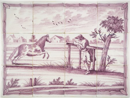 Antique Delft tile mural with a farmer watching his horse running, 19th century