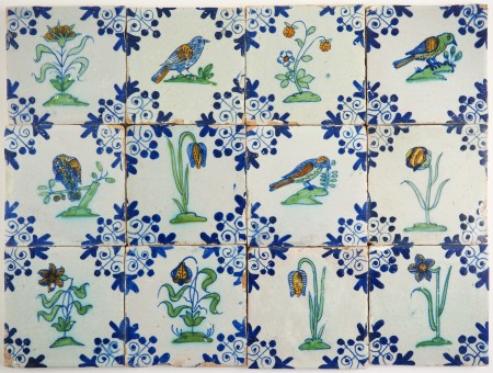 Set of 12 antique Delft wall tiles with polychrome birds and flowers, 17th century