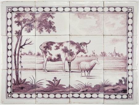 Antique dutch delft tile mural in manganese with a rural for Delft tile mural