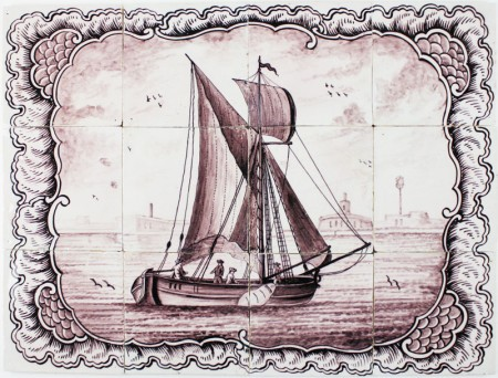 Antique Dutch Delft tile mural with a boat under sail, 18th century