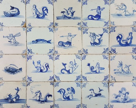 Antique Dutch wall tiles with Sea Creatures, Monsters and Mermaids in blue, original 17th century
