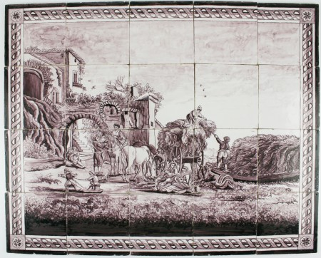 Manganese antique Delft tile mural depicting a landscape scene with a lifely scenery, 19th century