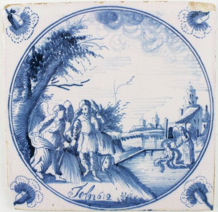 Antique Dutch tile depicting the Biblical scene in which Tobias catches a fish, 18th century