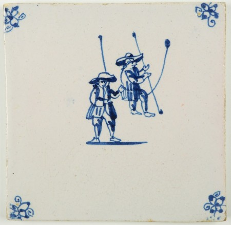 Antique Delft tile in blue with two acrobats swinging on a tightrope, 18th century