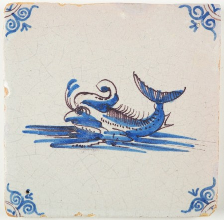Antique Dutch Delft tile with Sea Monster in blue and manganese, 17th century