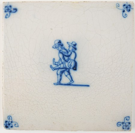 Antique Delft tile with two children horse riding on each others back, 18th century
