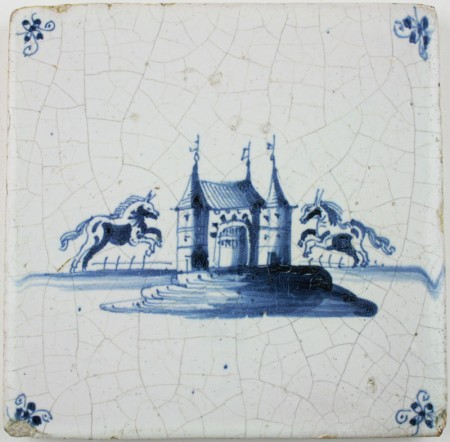 Antique Dutch Delft tile in blue with two prancing horses and a castle, 17th century