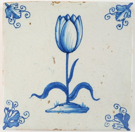 Antque Delft tile with a stunningly beautiful Tulip in blue, 17th century