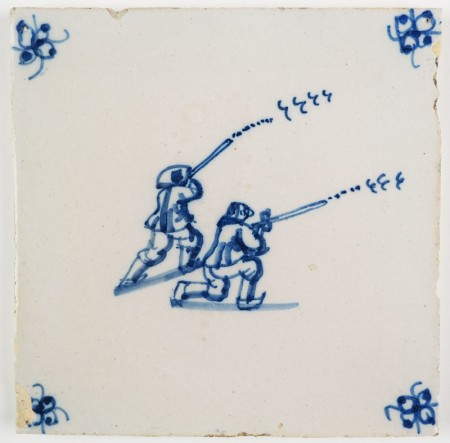 Antique Delft tile with two men hunting birds, 18th century
