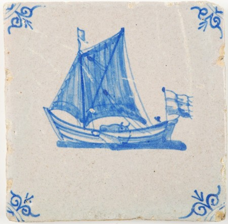 Antique Delft tile in blue with a sailing boat and a cow, 17th century