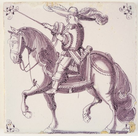 Antique Delft tile with a richly decorated horse rider in manganese, 18th century Rotterdam
