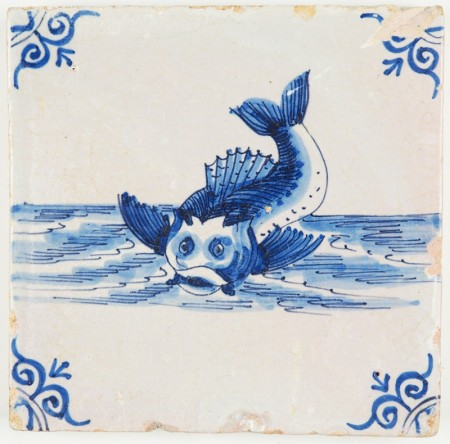 Antique Dutch Delft tile in blue with a perch, 17th century