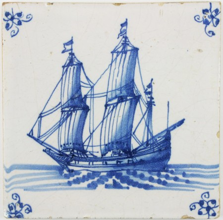 Antique Dutch Delft tile in blue with a tall ship under sail, 17th century