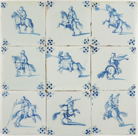 Set of nine antique Delft wall tiles in blue with horsemen in battle, 17th century