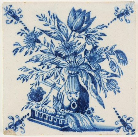 Antique Delft tile in blue with a bouqet in a porcelain vase, 18th century Rotterdam