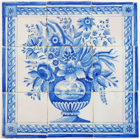 Antique Delft tile mural in blue with a richly decorated flower vase on nine tiles, 19th century