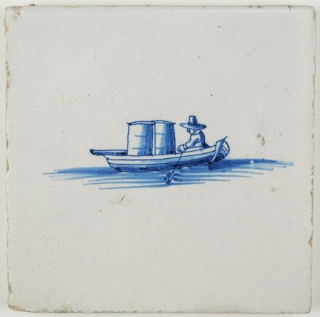Antique Dutch Delft tile with a man in a rowing boat with two barrels, 17th century
