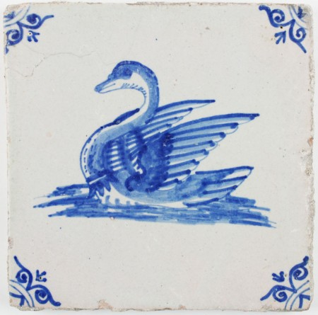 Antique Dutch Delft tile in blue with a beautiful Swan, 17th century