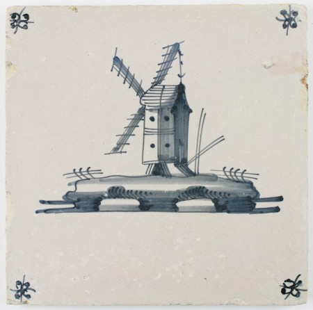 Antique Delft tile in blue with a windmill (post mill), 18th century