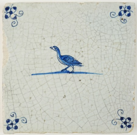 Antique Delft tile in blue with a goose, 17th century