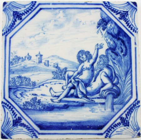Antique Dutch Delft tile depicting Cybele (earth) and Neptune (water), 18th century