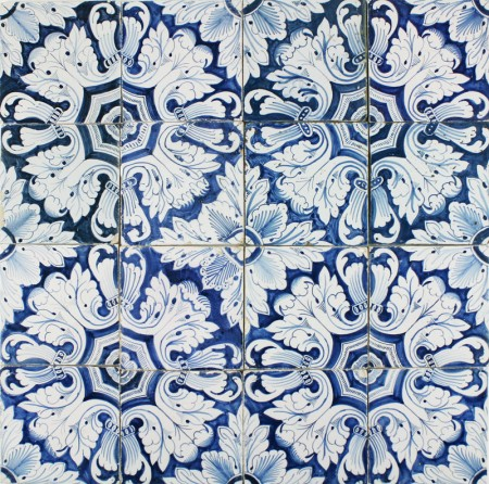 Antique Dutch Delft ornamental wall tiles in blue with Rose Feathers, 18th century