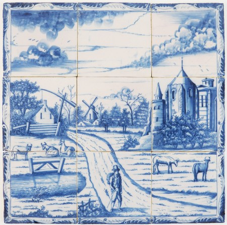 Antique Delft tile mural in blue with a romantic Dutch landscape scene, late 18th century