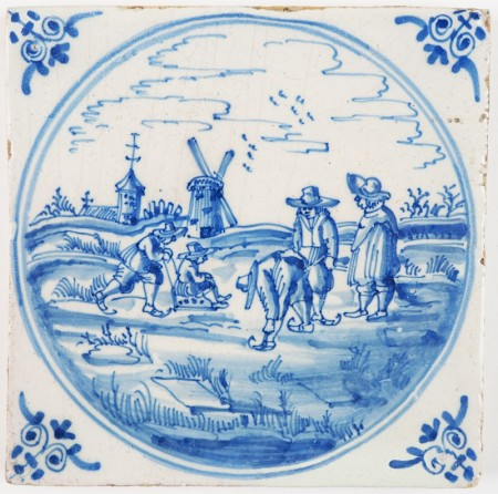 Antique Delft tile with a beautiful winter landscape scene in blue, 18th century