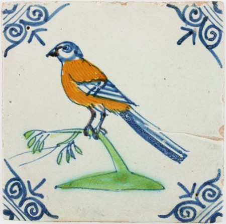 Antique Dutch Delft tile with a polychrome Wagtail, 17th century