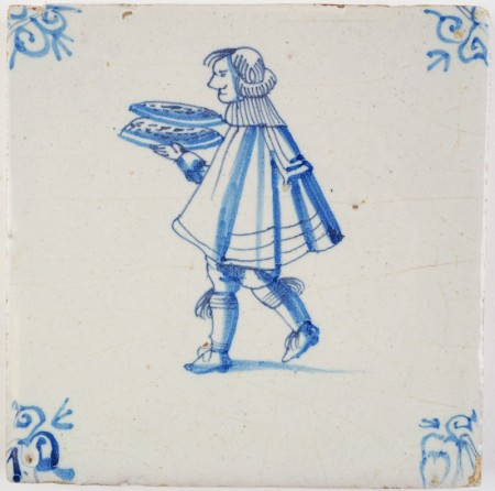 Antique Delft tile in blue with a servant, 17th century