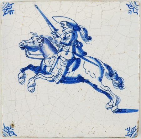 Antique Delft tile with a soldier wielding a sword while riding on a staggering horse, 17th century