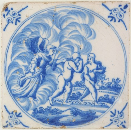 Antique Delft tile with the expulsion from Eden, 18th century