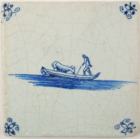 Antique Delft tile in blue with a man transporting a cow in a boat, 17th century