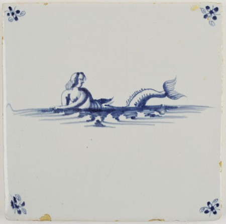 Antique Delft tile with a mermaid in blue, 17th century