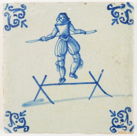 Antique Delft tile with an acrobat balancing on a wooden bar, 17th century