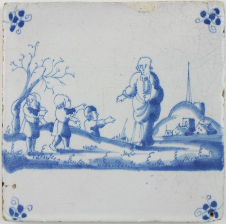 Antique Dutch Delft tile depicting Elisha being mocked by children, 17th century