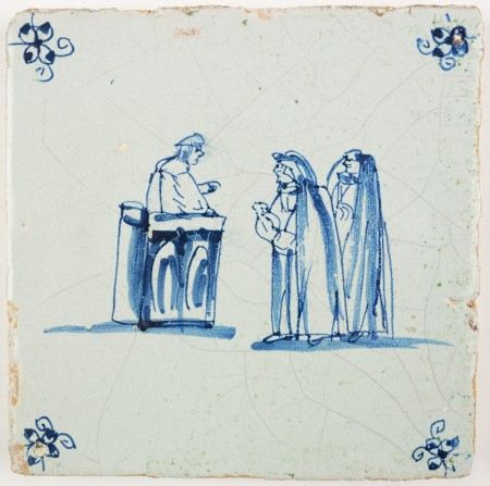 Antique Delft tile depicting the Judgment of Solomon, 17th century