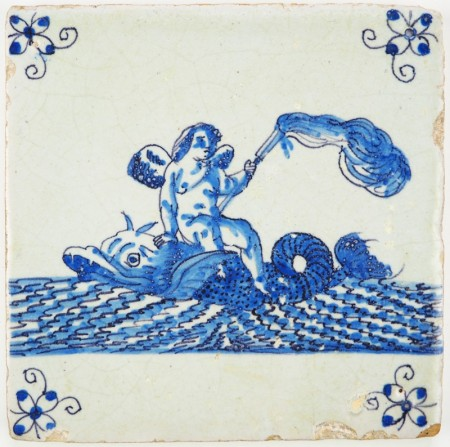Antique Delft tile with Cupid on top of a whale while holding a burning torch, 17th century Amsterdam
