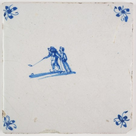 Antique Dutch Delft tile with two figures skating on ice while playing of a game of golf, 17th century