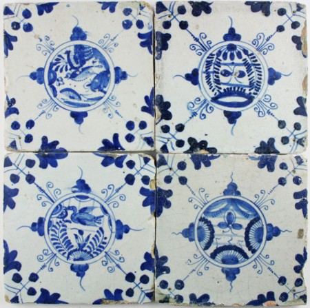 Antique Dutch Delft wall tiles with Chinese Gardens in blue, 17th century